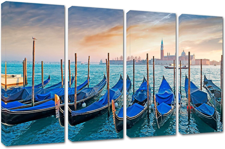 Amazon Com 60 X 36 Gondolas At Dusk Venice Italy Canvas Print 4 Panel Multi Split Wall Art Decor For Home Or Office Posters Prints