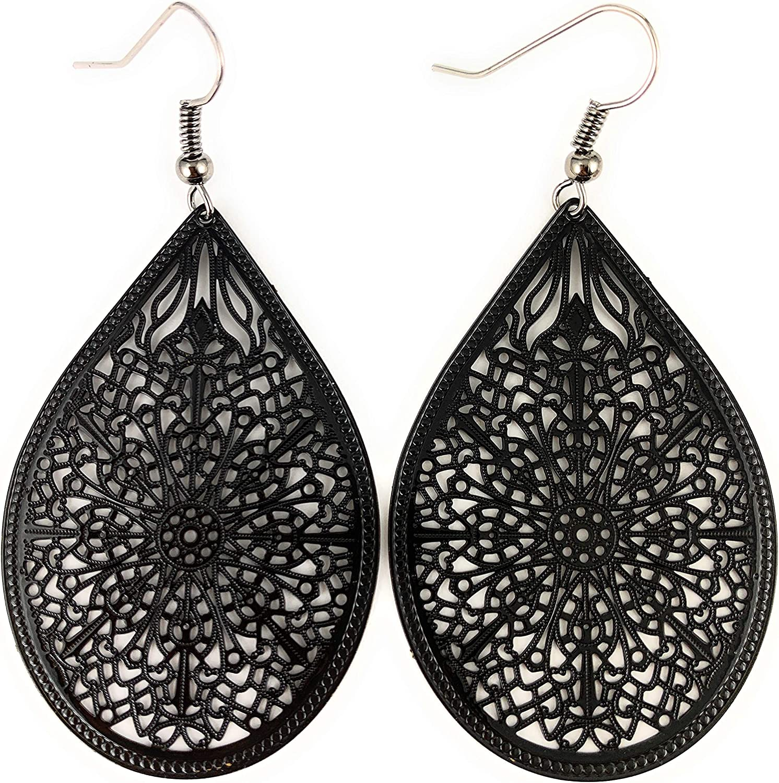 Black Earrings Teardrop Dangle Shiny Very Lightweight Filigree 2.5
