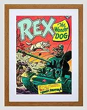 Comics REX Wonder Dog Tank Soldier Gun Battle USA Framed Art Print B12X3303
