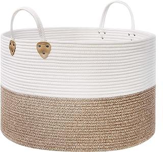 SONGMICS Panier à linge en corde de coton avec poignées - 100 L - Pour jouets, vêtements, couvertures, marron et beige - 5...
