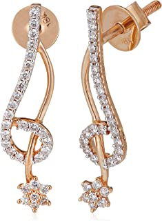 WHP Jewellers 18KT (750) Rose Gold and Diamond Stud Earrings For Women & Girls