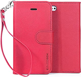 iPhone 5c Case, BUDDIBOX [Wrist Strap] Premium PU Leather Wallet Case with [Kickstand] Card Holder and ID Slot for Apple iPhone 5c, (Pink)