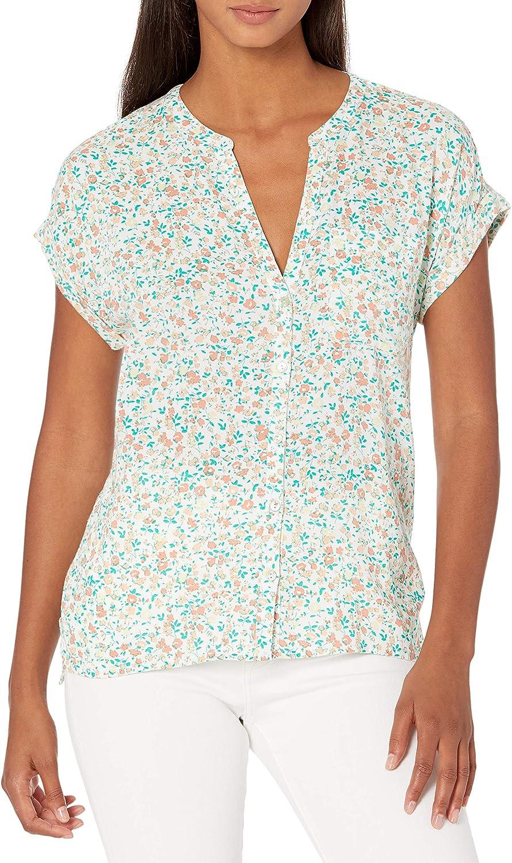 Lucky Brand Women's Short Sleeve V Neck Button Up Woven Mix Top