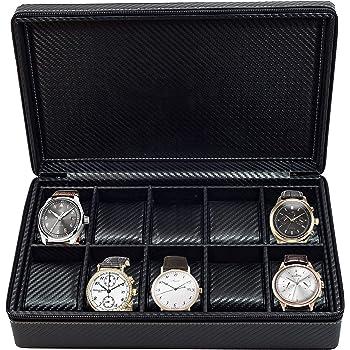 10 Watch Briefcase Black Carbon Fiber Zippered Travel Storage Case 50MM Father's Day