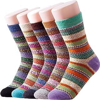 comprar comparacion Leier 5 pares de mujeres gruesas de lana mezcladas cálidas calcetines vintage para otoño invierno Reino Unido 3-9 / UE 36-43