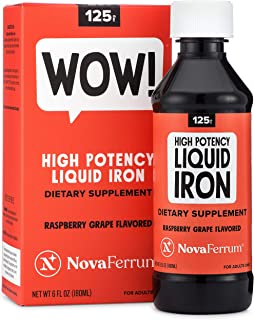 NovaFerrum 125 Liquid Iron Supplement Raspberry Grape Flavor 6 fl oz (180 mL)