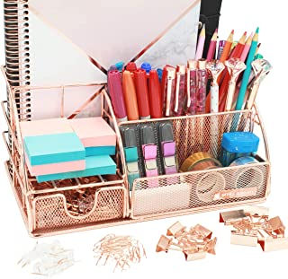 OFFICE ALMIGHTY Rose Gold Desk Organizer for Women: Exclusive Large 6 in 1 Mesh Metal Supplies Organizer with Pen Holders,...