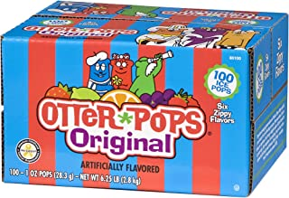 Otter Pops Ice Pops – Gluten & Fat Free Ice Pops, Delicious Frozen Treats Include Strawberry, Blue Raspberry, Grape, Lemon-Lime, Punch & Orange Flavors, 100Count of 1 oz. Pops