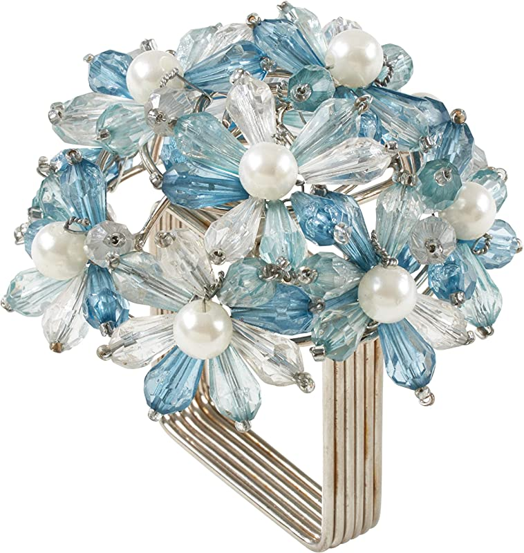 SARO LIFESTYLE NR215 Collection Beaded Floral Napkin Rings Set Of 4 3 X 3 Aqua