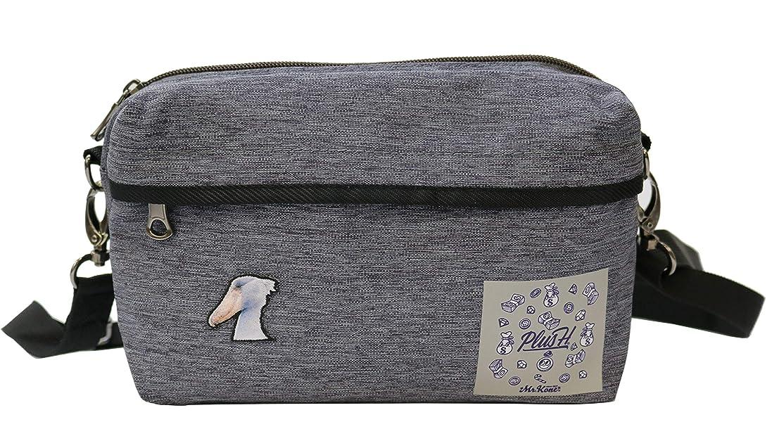 銀行宝石滝プラスエイチ(Plus H) ショルダーバッグ ミニショルダー ハシビロコウ 柴犬 3D刺繍パッチ付き メンズ レディース PH8423
