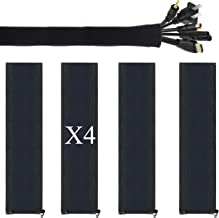Cable Management Sleeve 4Pack by Ailun Premium Quality Neoprene 20 Inch Flexible Cable Sleeve Wrap Cover Organizer with Zipper for for PC TV Office and Home Black