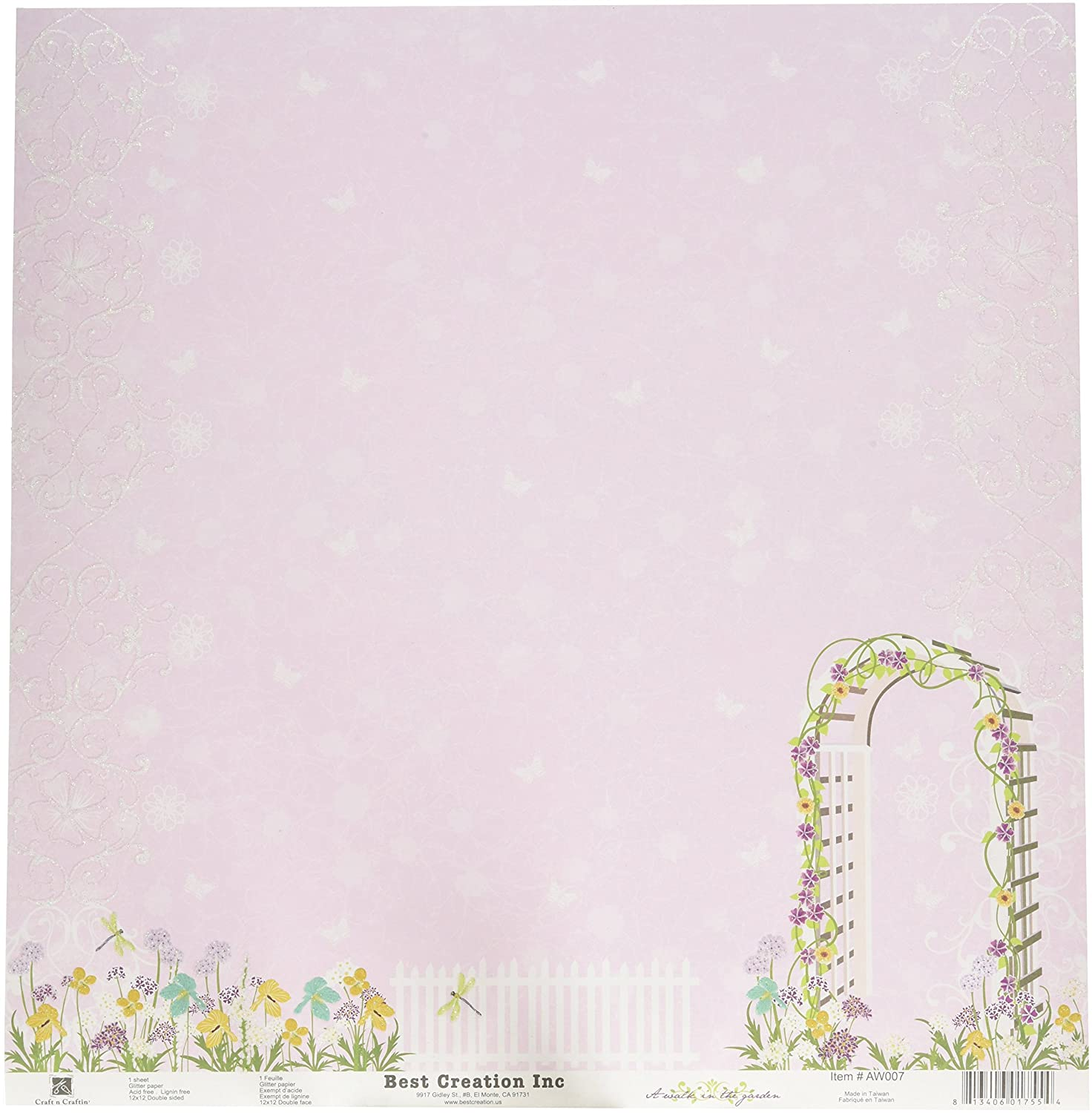 Best Creation 12 by 12-Inch Glitter Paper, My Garden, Case Packed, 25 Sheets
