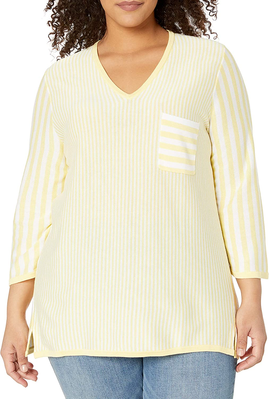 Foxcroft Women's Plus Size Jaden V Neck Stripe Sweater
