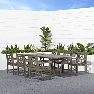 vifah vista 7 piece wood patio dining set