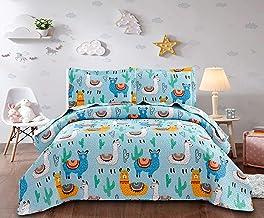 Ycosy YC 3 Piece Cartoon Quilt Set Animal Alpaca Bed Covers Kids Blanket Throw Blue Lightweight Summer Quilt Desert Cactus...