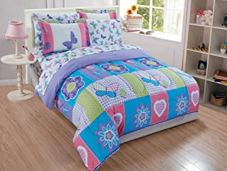 MK Home Mk collection 5pc Twin Size Butterfly Purple Pink Turquoise Green Flowers Comforter Set Girls Teens New set