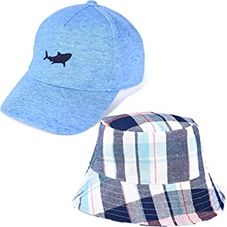 accsa Toddler Kid Boy Baseball Cap and Bucket Brim Hat Sun Protection 2 Pack