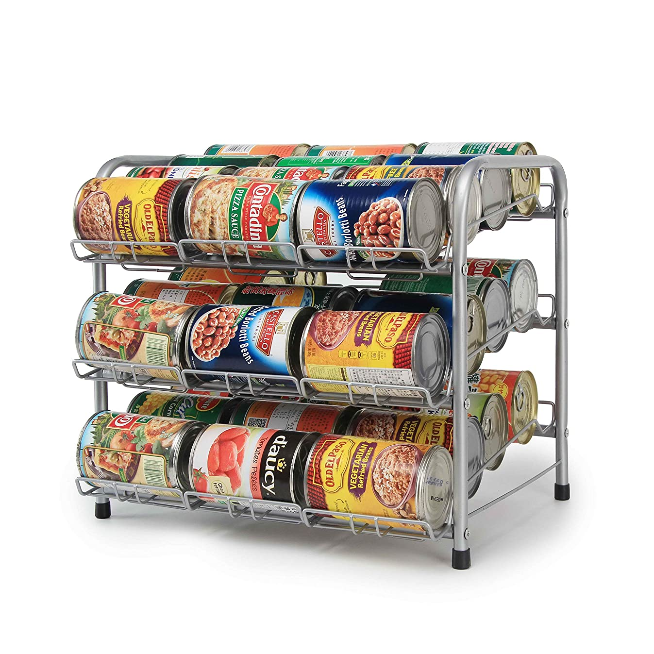 Kitchen Can Rack Stackable Chrome Pantry Organizer (3-Tier)