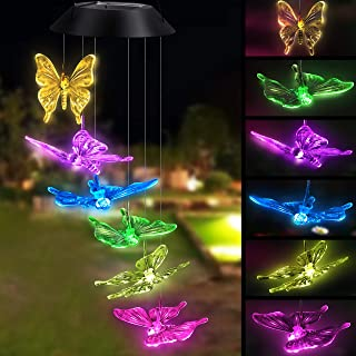 Solar Powered Color-changing Led Butterfly Wind Chimes Multi Solar Powered Mobile Waterproof Automatic Light Sensor Outdoo...