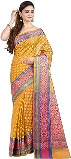 Women's Cotton Silk Blend Indian Ethnic Banarasi Saree with unstitched Blousepiece(1081)
