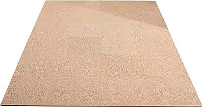 JOINTNET 天然コルクマット 無地 大判45cm 厚み8mm 約3畳用 24枚セット フチ付き (1、粗め)