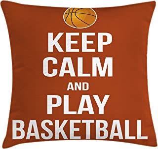 Lunarable Sports Throw Pillow Cushion Cover, Keep Calm Play Basketball Words Motivational Phrase Pop Culture Poster Design, Decorative Square Accent Pillow Case, 16