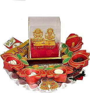 メタルラクシュミガネーシャアイドル| ディワリプジャサマグリキット| ディワリ製品| Diwali Poojaキット、Laxmi Ganesh Yantra || griha pravesh Puja samagri、Durga Puja Sa...