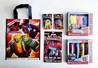 Mini Figurines /& Party Bag giftt Shaped Character Chalk Transformers Ultimate Activity 6 Piece Bundle: Jumbo Chalk 150+ Sticker Book