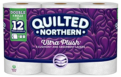 Quilted NorthernUltra Plush Toilet Paper, 6 Double Rolls, 6 = 12 Regular Bath Tissue Rolls, 154 3-P