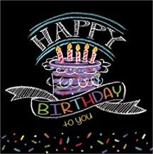 Creative Converting 16 Count Chalk Birthday Lunch Napkins, Black/White