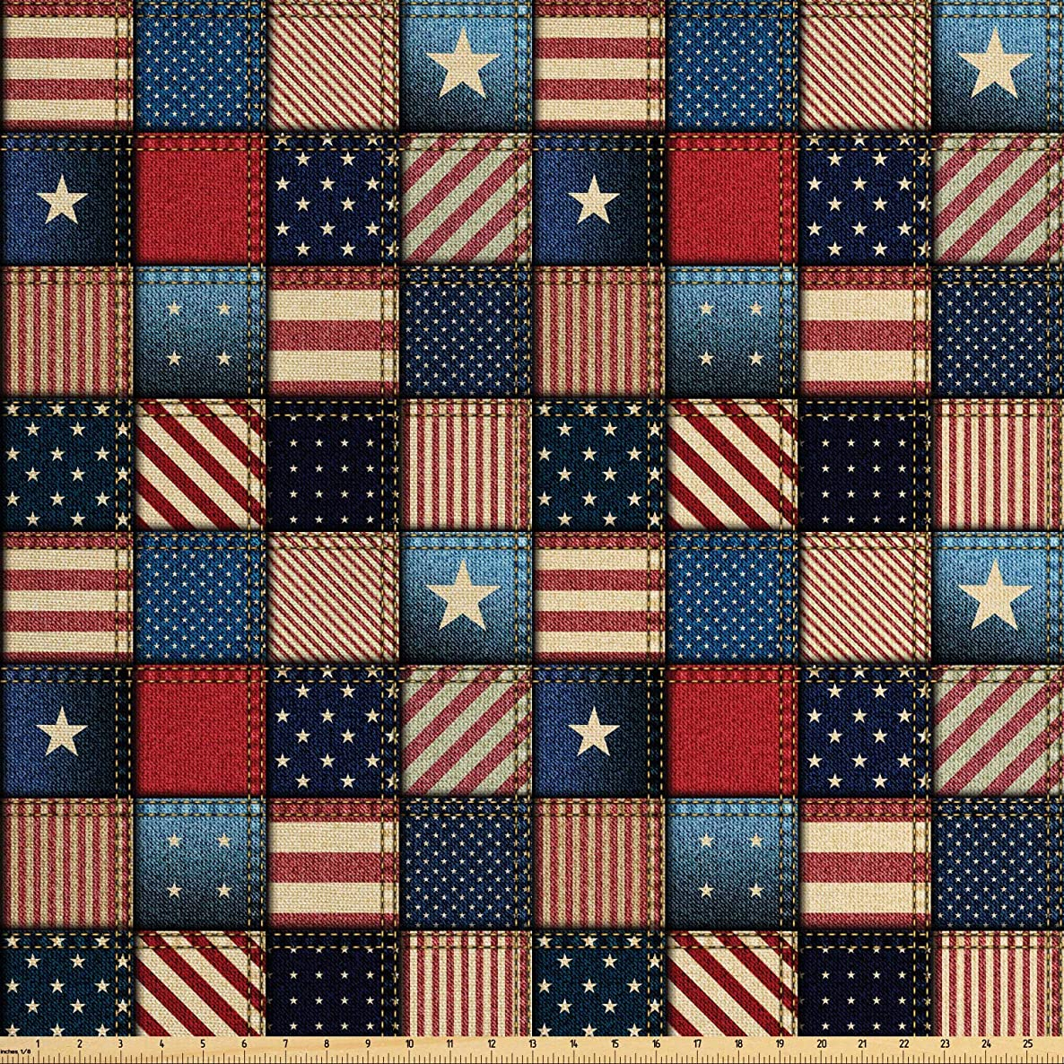 Lunarable United States Fabric by The Yard, American Flag Patchwork with Vertical and Horizontal Stripe and Star Forms, Decorative Fabric for Upholstery and Home Accents, 1 Yard, Red Blue