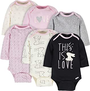Gerber Baby Girls 6-Pack Long-Sleeve Onesies Bodysuits Baby and Toddler T-Shirt Set