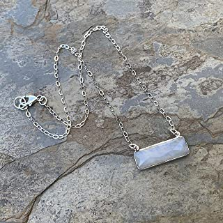 Moonstone Bar Pendant on Sterling Silver Chain, 18 inch
