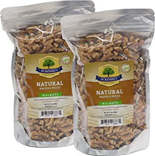 Walnuts Halves and Pieces - Shelled, Raw and 100% Natural - California Chandler Walnuts From the Sohnrey Family Farm (12 oz) 2-Pack