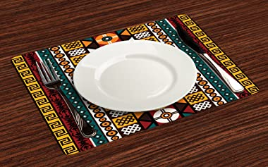 Ambesonne Kente Pattern Place Mats Set of 4, Vertical Borders Inspired by Timeless Cultures Geometrical Design, Washable Fabr
