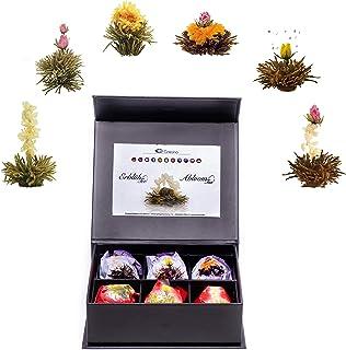 Creano Teeblumen Mix 6er ErblühTeeWeißer & Schwarzer Tee in edeler Magnetbox mit Silberprägung