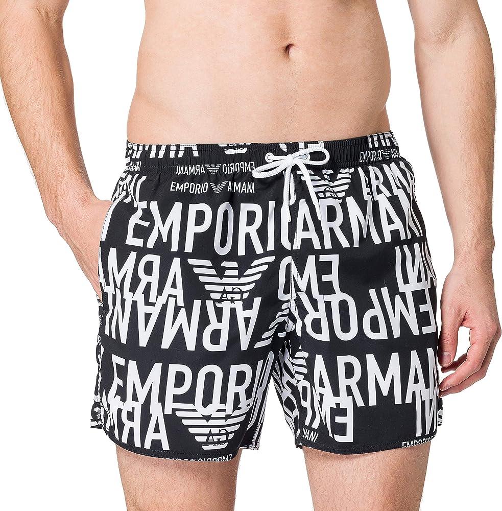Emporio armani swimwear boxer all over graphic logo, costume da bagno per uomo,100% poliestere 211740 1P428 00020