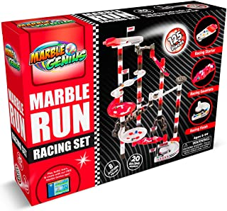 Marble Genius Marble Run Racing Set (125 Pieces) with Designer Marbles, Racing Action Pieces, & Tournament Board