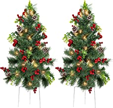 Best Choice Products Set of 2 24.5in Outdoor Battery Operated Pre-Lit Pathway Christmas Trees Holiday Décor for Driveway, ...