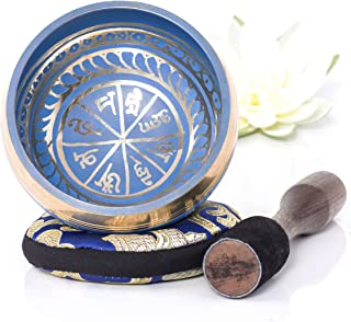 Silent Mind ~ Tibetan Singing Bowl Set ~ Blue Color Design ~ With Dual Surface Mallet and Silk Cushion ~ Promotes Peace, Chakra Healing, and Mindfulness ~ Exquisite Gift