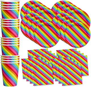 Rainbow Birthday Party Supplies Set Plates Napkins Cups Tableware Kit for 16