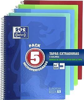 PACK DE 5 CUADERNOS MICROPERFORADOS A4+ OXFORD 80 HOJAS TAPA EXTRA DURA