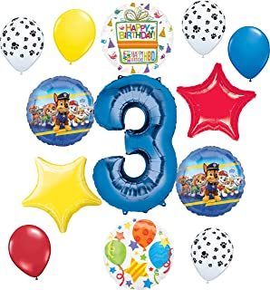 Paw Patrol Party Supplies Pups 3rd Birthday Balloon Bouquet Decorations