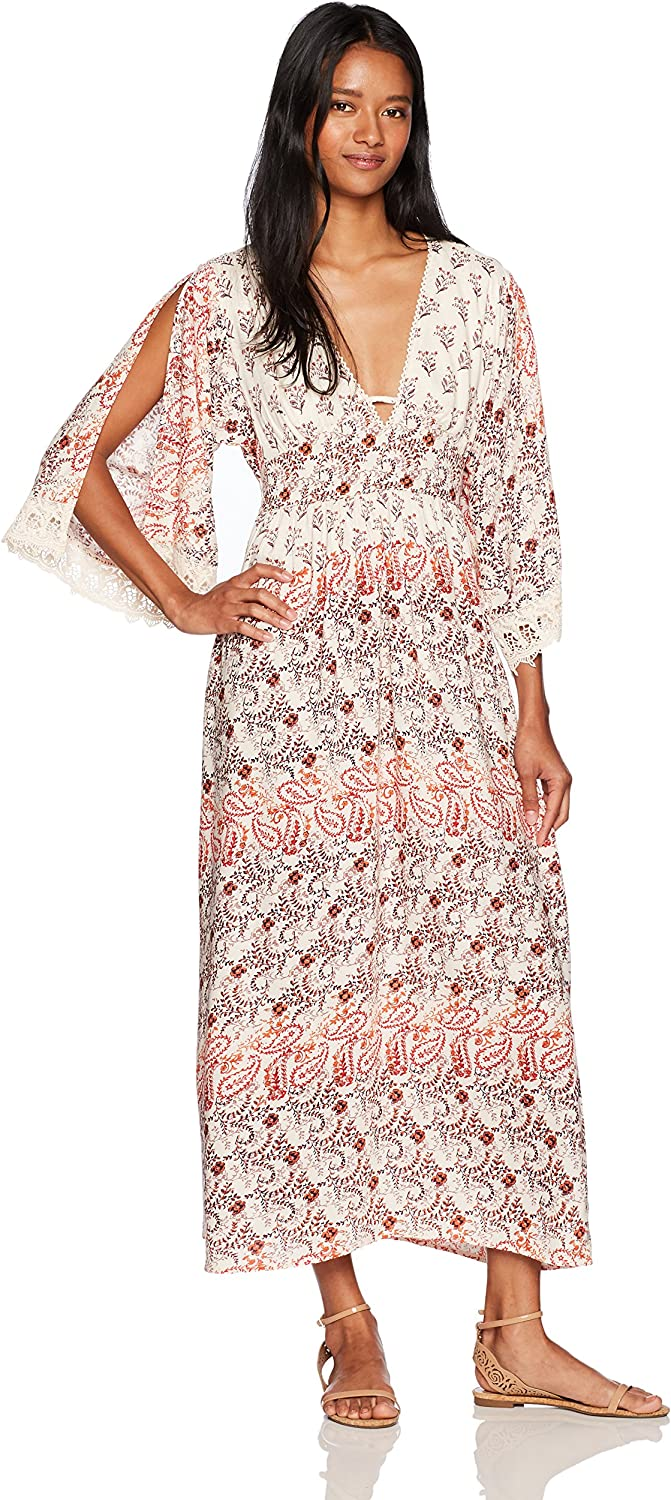 Angie Womens 3 4 Sleeve Printed Maxi Dress with Lace Dress