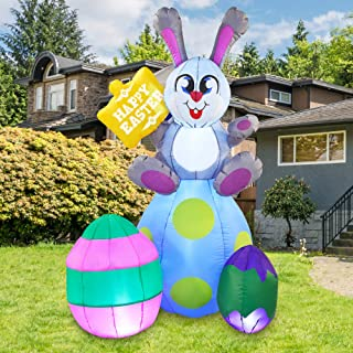 Joiedomi Easter Inflatable Outdoor Decoration 6 ft Tall Easter Bunny & Eggs with Build-in LEDs Blow Up Inflatables for Eas...