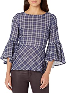 kensie Women's Double Layer Plaid Top With Bell Sleeve
