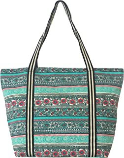 Large Utility Canvas and Nylon Travel Tote Bag Beach Bag For Women and Girls (B.MINT)