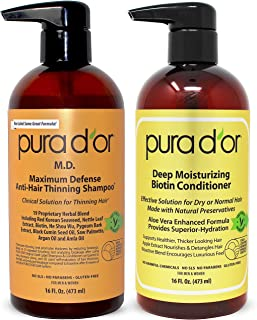PURA D`OR MD Anti-Thinning Shampoo w/ Biotin, Coal-Tar 19+ Herbal Blend & Deep Moisturizing Conditioner Set: Reduce Hair Thinning and Healthy Scalp - All Hair Types, Men & Women (Packaging May Vary)