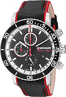 Wenger Men's Roadster Black Night Stainless Steel Swiss-Quartz Leather Strap, 19.5 Casual Watch (Model: 01.1843.105)