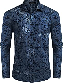 Men's Floral Button Down Shirt Long Sleeve Slim Fit Casual Paisley Dress Shirt
